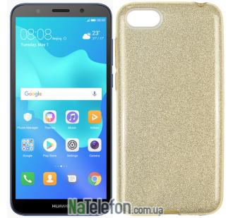 Чехол Silicone 3in1 Блёстки для Huawei Y5 2018 Gold