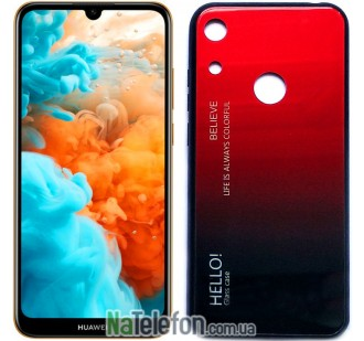 Чехол TPU Gradient HELLO Glass для Huawei Y6 2019 Красный