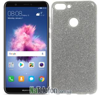 Чехол Silicone 3in1 Блёстки для Huawei P Smart White