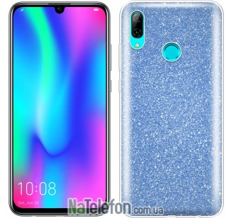 Чехол Silicone 3in1 Блёстки для Huawei P Smart 2019 Blue