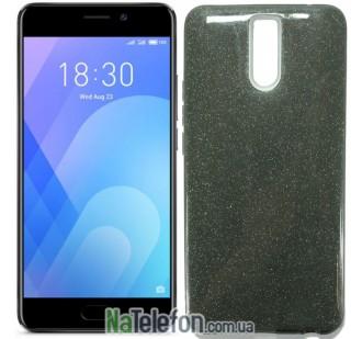 Силиконовый чехол Silicone 3in1 Блёстки для Meizu M6 Note Black