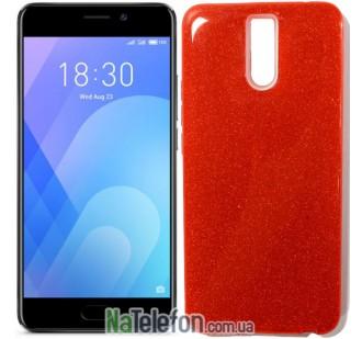 Силиконовый чехол Silicone 3in1 Блёстки для Meizu M6 Note Red