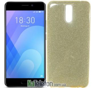 Силиконовый чехол Silicone 3in1 Блёстки для Meizu M6 Note Gold