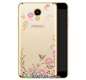 Прозрачный чехол с цветами и стразами для Meizu M5 с глянцевым бампером (Золотой/Розовые цветы)