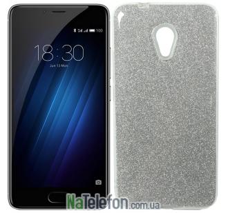 Силиконовый чехол Silicone 3in1 Блёстки для Meizu M5S White