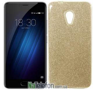 Силиконовый чехол Silicone 3in1 Блёстки для Meizu M5C Gold