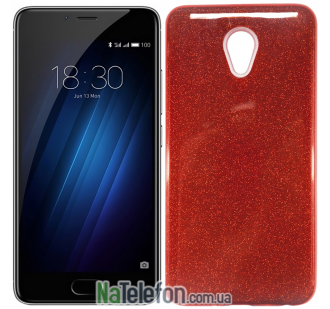Силиконовый чехол Silicone 3in1 Блёстки для Meizu M5S Red