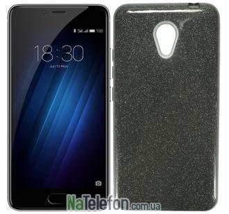 Силиконовый чехол Silicone 3in1 Блёстки для Meizu M5C Black