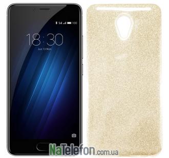 Чехол Silicone 3in1 Блёстки для Meizu M5 Note Gold