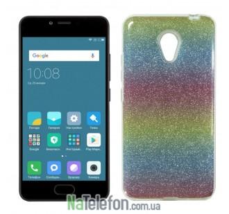 Силиконовый чехол Silicone 3in1 Блёстки для Meizu M5C Rainbow