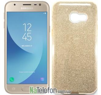 Силиконовый чехол Silicone 3in1 Блёстки для Samsung A320 Gold