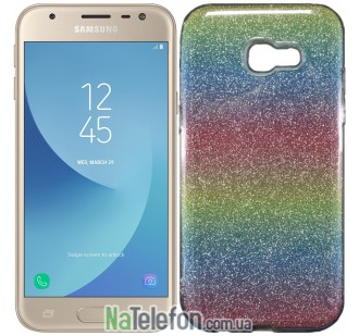 Силиконовый чехол Silicone 3in1 Блёстки для Samsung A520 2017 Rainbow