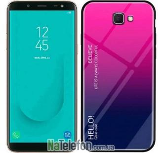 Чехол TPU Gradient HELLO Glass для Samsung J4 Plus Розовый