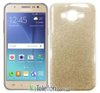Силиконовый чехол Silicone 3in1 Блёстки для Samsung J700 Gold