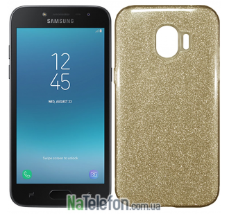 Силиконовый чехол Silicone 3in1 Блёстки для Samsung J250 Galaxy J2 2018 Gold