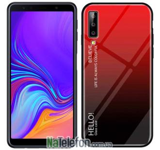 Чехол TPU Gradient HELLO Glass для Samsung A750 Galaxy A7 2018 Красный