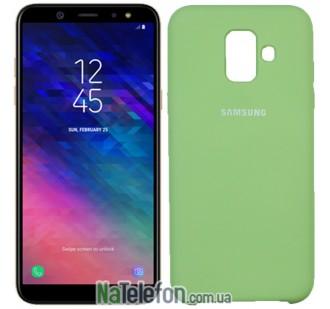 Чехол силиконовый оригинальный Samsung A600 Galaxy A6 2018 Светло Зеленый