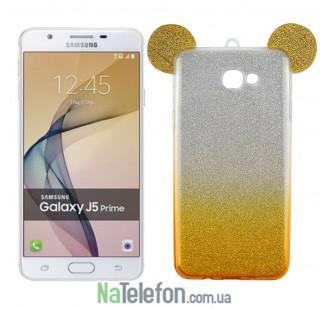 Чехол Mickey TPU Case с блестками для Samsung J5 Prime/G570