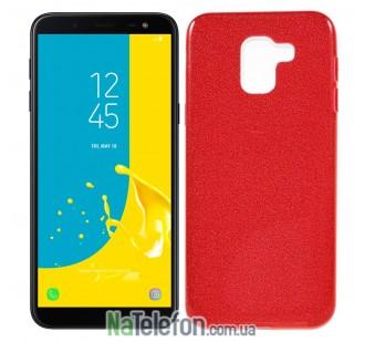 Силиконовый чехол Silicone 3in1 Блёстки для Samsung J600 Red