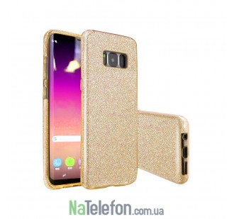 Силиконовый чехол Silicone 3in1 Блёстки для Samsung G950 Galaxy S8 Gold