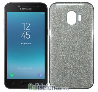 Силиконовый чехол Silicone 3in1 Блёстки для Samsung J250 Galaxy J2 2018 White