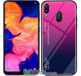 Чехол TPU Gradient HELLO Glass для Samsung M25 Galaxy М20 Розовый