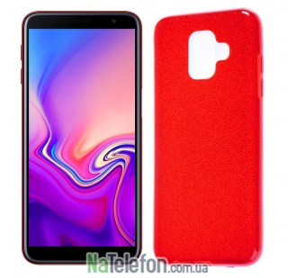 Силиконовый чехол Silicone 3in1 Блёстки для Samsung J610 Galaxy J6 Plus Red