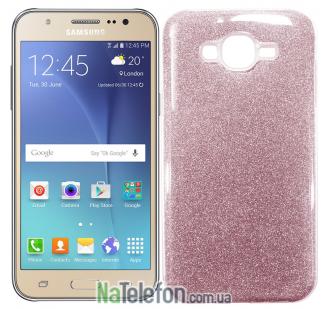 Силиконовый чехол Silicone 3in1 Блёстки для Samsung J700 Pink