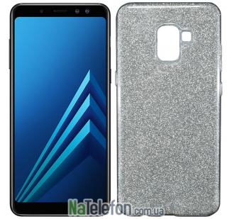 Силиконовый чехол Silicone 3in1 Блёстки для Samsung A8 Plus 2018 (A730) White