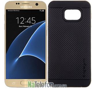 Пластиковый чехол SGP Spigen Neo Hybrid Carbon для Samsung G930 Galaxy S7 Gold