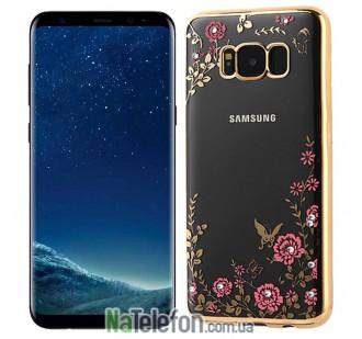 Прозрачный чехол с цветами и стразами для Samsung G955 Galaxy S8 Plus с глянцевым бампером (Розовый золотой/Розовые цветы)