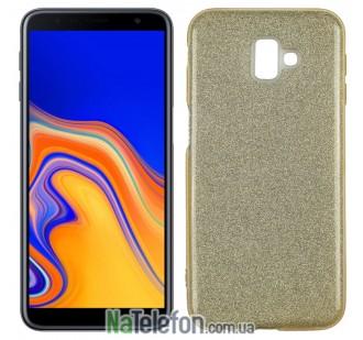 Силиконовый чехол Silicone 3in1 Блёстки для Samsung J610 Galaxy J6 Plus Gold