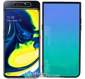 Чехол TPU Gradient HELLO Glass для Samsung A805 Galaxy A80 Голубой