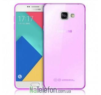 Ультра тонкий силиконовый чехол Remax 0.2 mm для Samsung A710 (A7-2016) Pink
