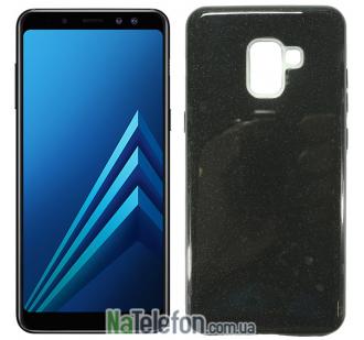 Силиконовый чехол Silicone 3in1 Блёстки для Samsung A8 2018 (A530) Black