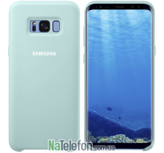 Оригинальный силиконовый чехол для Samsung G955 Galaxy S8 Plus Голубой