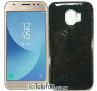 Силиконовый чехол Silicone 3in1 Блёстки для Samsung J250 Galaxy J2 2018 Black