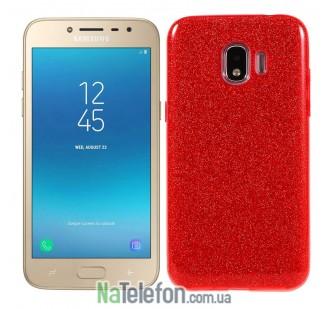 Чехол Silicone 3in1 Блёстки для Samsung J250 Galaxy J2 2018 Red