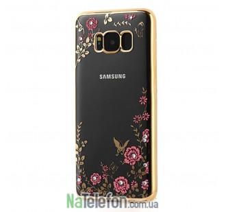 Прозрачный чехол с цветами и стразами для Samsung G950 Galaxy S8 с глянцевым бампером (Золотой/Розовые цветы)