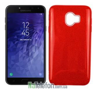 Чехол Silicone 3in1 Блёстки для Samsung J400 Red