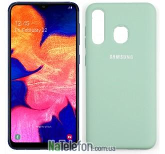 Чехол силиконовый оригинальный для Samsung A30 2019 Голубой FULL DEL