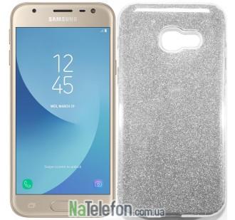 Силиконовый чехол Silicone 3in1 Блёстки для Samsung A520 Silver