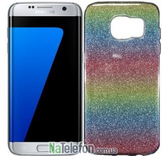 Силиконовый чехол Silicone 3in1 Блёстки для Samsung G930 Galaxy S7 Rainbow