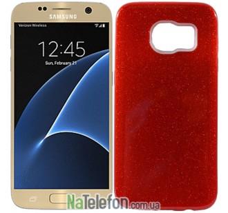 Силиконовый чехол Silicone 3in1 Блёстки для Samsung G930 Galaxy S7 Red