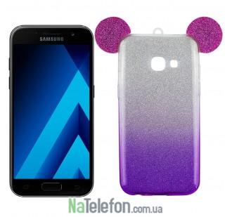 Чехол Mickey TPU Case с блестками для Samsung A3 (2017) A320