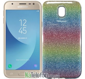 Силиконовый чехол Silicone 3in1 Блёстки для Samsung J530 Rainbow