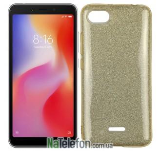 Чехол Silicone 3in1 Блёстки для Xiaomi Redmi 6a Gold