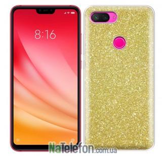 Чехол Silicone 3in1 Блёстки для Xiaomi Mi8 Lite Gold