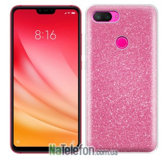 Чехол Silicone 3in1 Блёстки для Xiaomi Mi8 Lite Pink