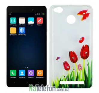 Чехол Lucent Diamond Case для Xiaomi Redmi 3s/3x/3 Pro Tulips (Red)